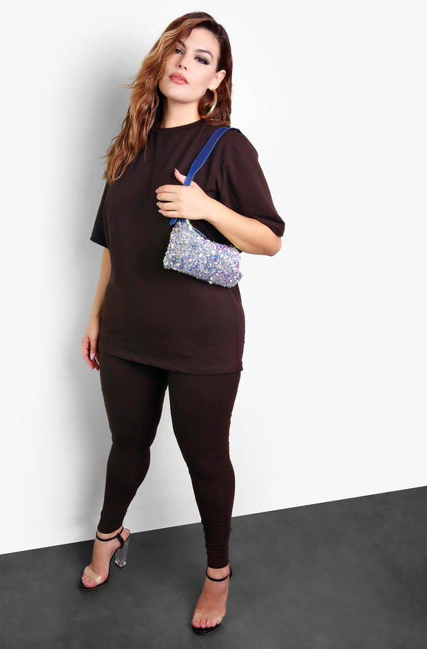 Blue Sequin Shoulder Bag