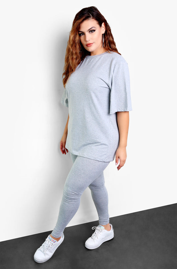 Gray Essential Long Line Top Plus Sizes