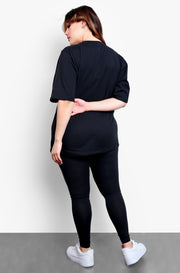 Black Essential Long Line Top Plus Sizes