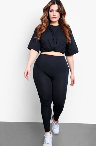 Black Essential High Waist Leggings Plus Sizes