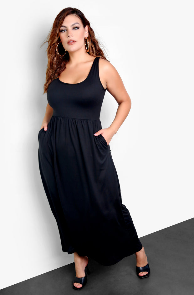Rebdolls Essential Tank Skater Maxi Dress with Pockets - Black