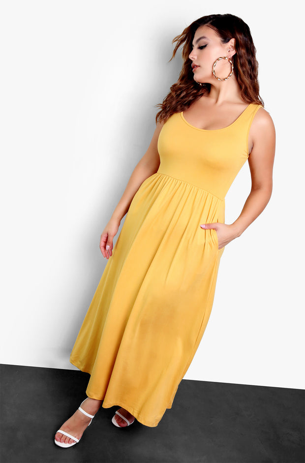 Mustard Essential Tank Skater Maxi Dress with Pockets Plus Size
