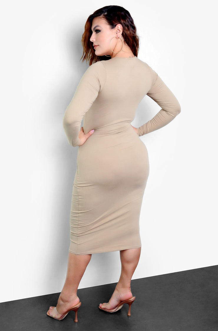 Rebdolls Essential Long Sleeve Crew Neck Bodycon Midi Dress