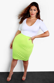 Essential Bodycon Lime Green Mini Skirt