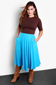 Turquoise Skater Midi Skirt Plus Sizes