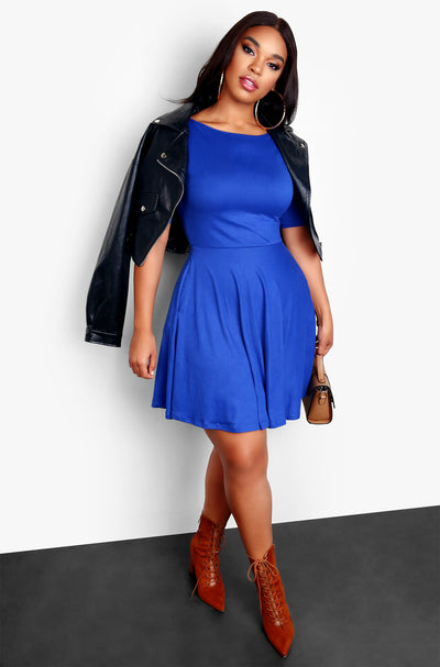 Rebdolls Essential Boat Neck Skater Mini Dress - Royal Blue