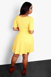 Yellow Midi Dress with Pockets Plus Sizes
