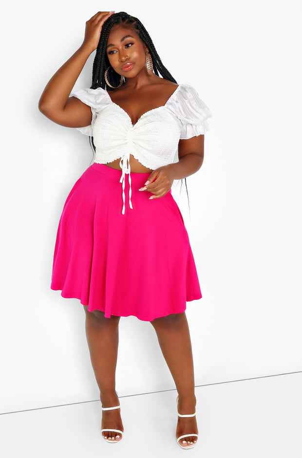 Fuchsia Essential Mini Skater Skirt w. Pockets Plus Size