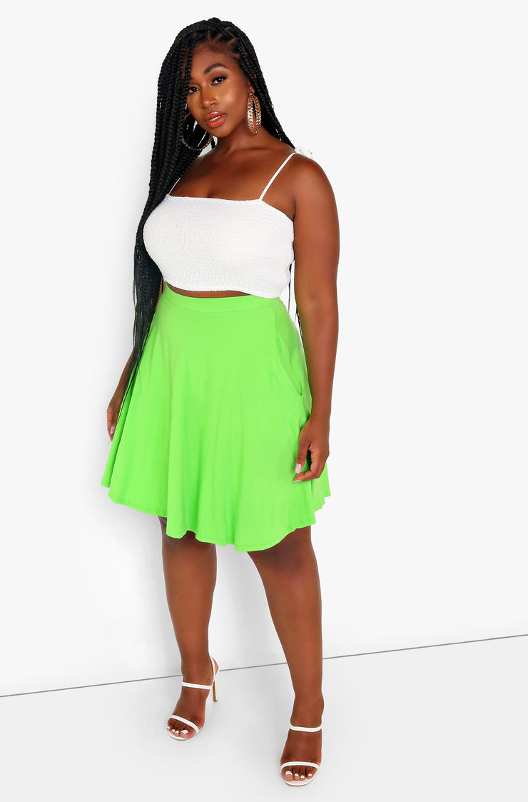 Lime Green Essential Mini Skater Skirt w. Pockets Plus Size