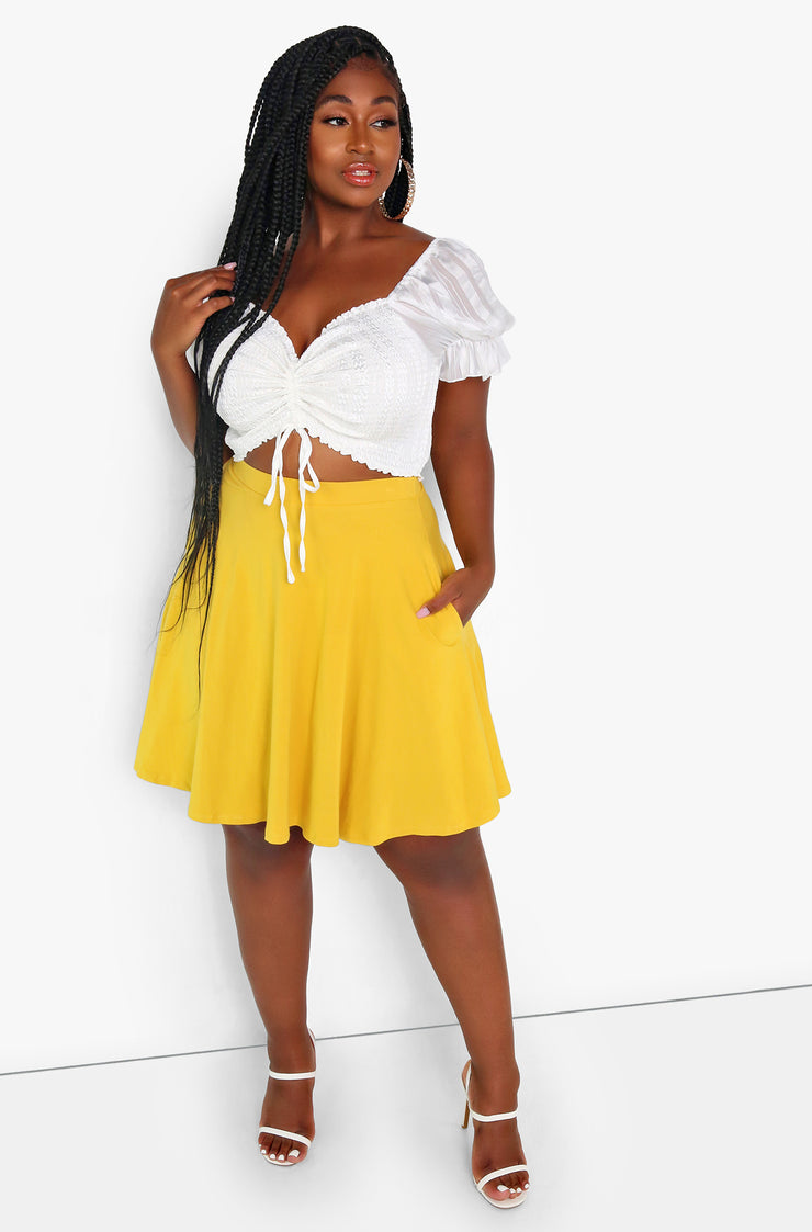 Mustard Essential Mini Skater Skirt w. Pockets Plus Size