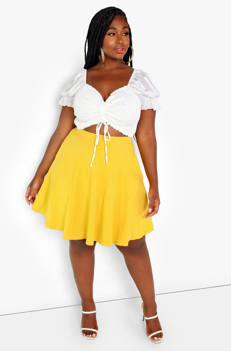 White Ruched Puff Sleeve Crop Top Plus Sizes