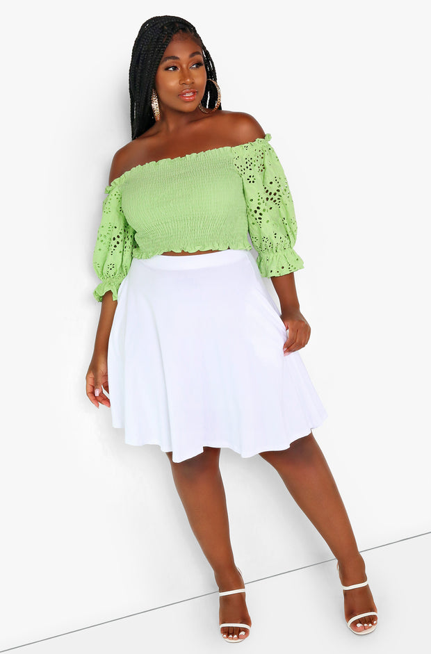 White Essential Mini Skater Skirt w. Pockets Plus Size