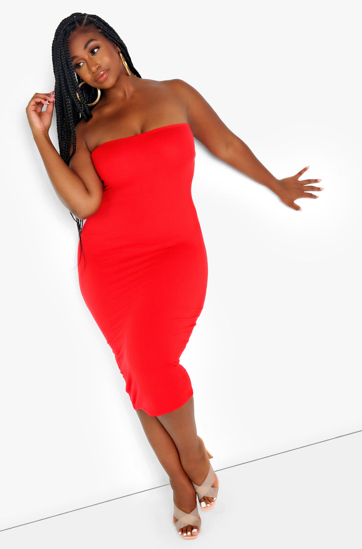 Red Essential Strapless Midi Dress Plus Sizes
