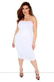 White Essential Strapless Midi Dress Plus Sizes
