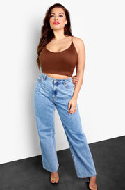 Brown Essential Strappy V-Neck Crop Top Plus Sizes