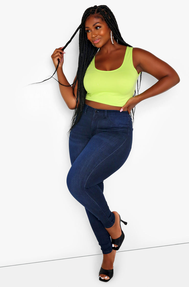 Lime Green Essential Tank Crop Top Plus Sizes