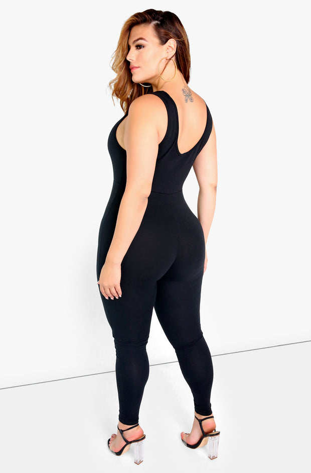 Black Essential Tank Jumpsuit Plus Size
