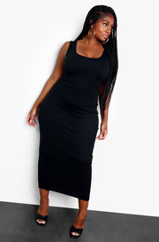 Black Ribbed Tank Maxi Dress Plus Sizes