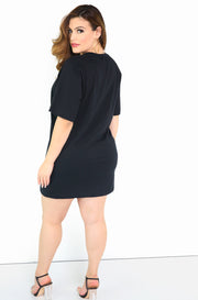 Black Oversized T-Shirt Dress Plus Size