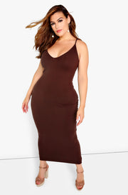 Brown Strappy Bodycon Maxi Dress Plus Size