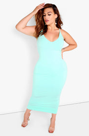 Mint Strappy Bodycon Maxi Dress Plus Size
