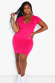 Fuchsia Essential Short Sleeve V-Neck Bodycon Mini Dress Plus Size