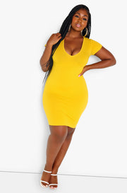 Mustard Essential Short Sleeve V-Neck Bodycon Mini Dress Plus Size