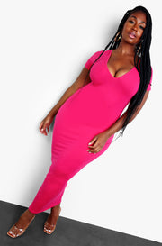 Fuchsia Essential V-Neck Bodycon Maxi Dress Plus Size