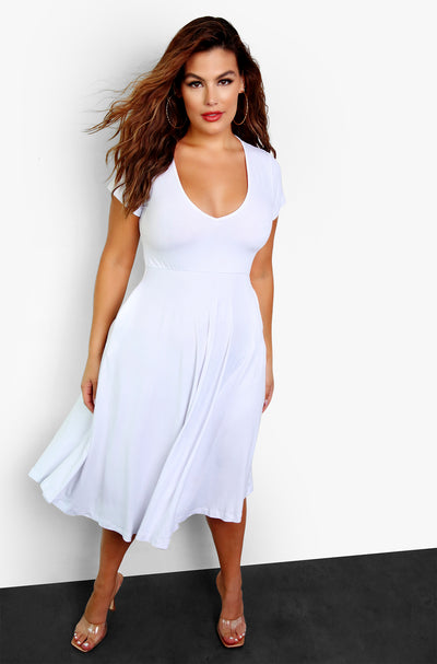 White Essential V-Neck Skater Midi Dress w. Pockets Plus Sizes
