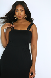 Black High Slit A-Line Midi Dress Plus Sizes