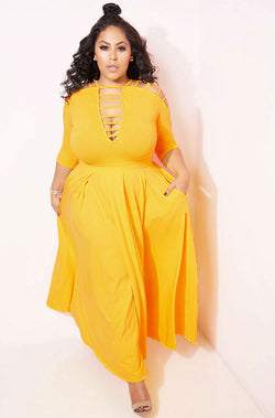 Mustard Yellow Yellow Caged Skater Maxi Gown plus sizes