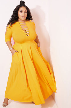 Mustard Yellow Caged Skater Maxi Gown plus sizes