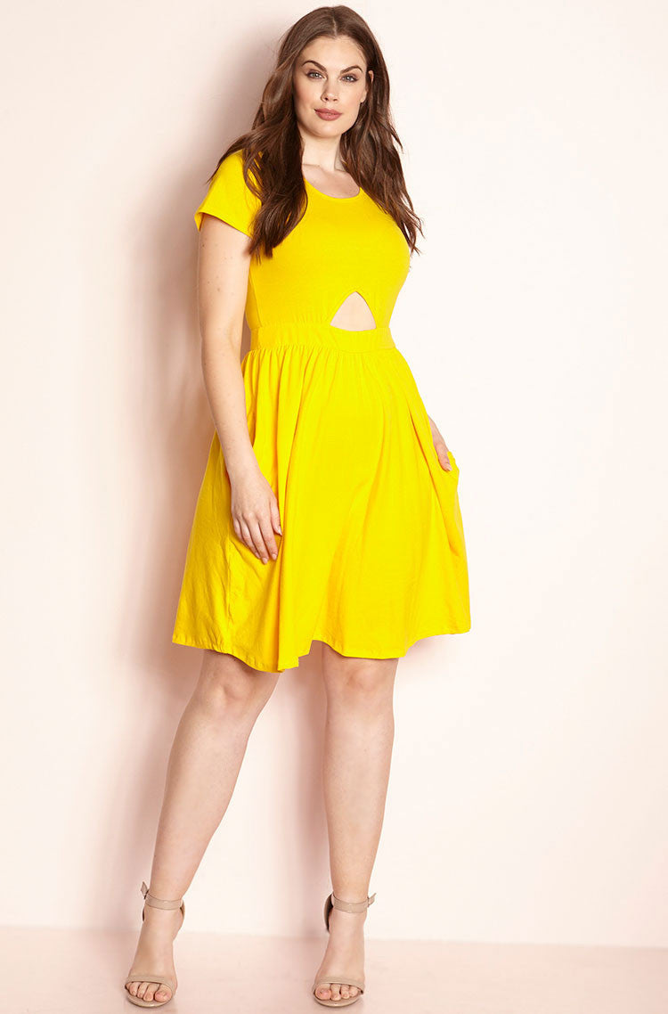 Yellow Cut-Out Skater Mini Dress With Pockets plus sizes