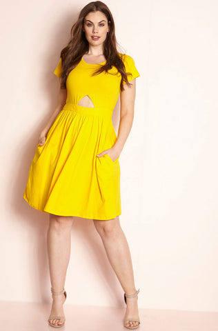 "Rebdolls ""My Loving Goes"" Ruched Racer Back Midi Dress- Yellow"