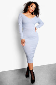 Gray Plus Size Ribbed Over The Shoulder Bodycon Midi Dress