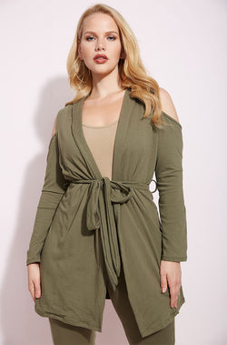 Olive Cold Shoulder Cotton Blazer plus sizes