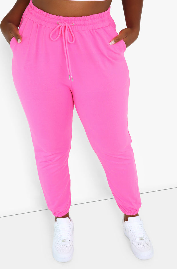 Pink High Waist Joggers Plus Sizes