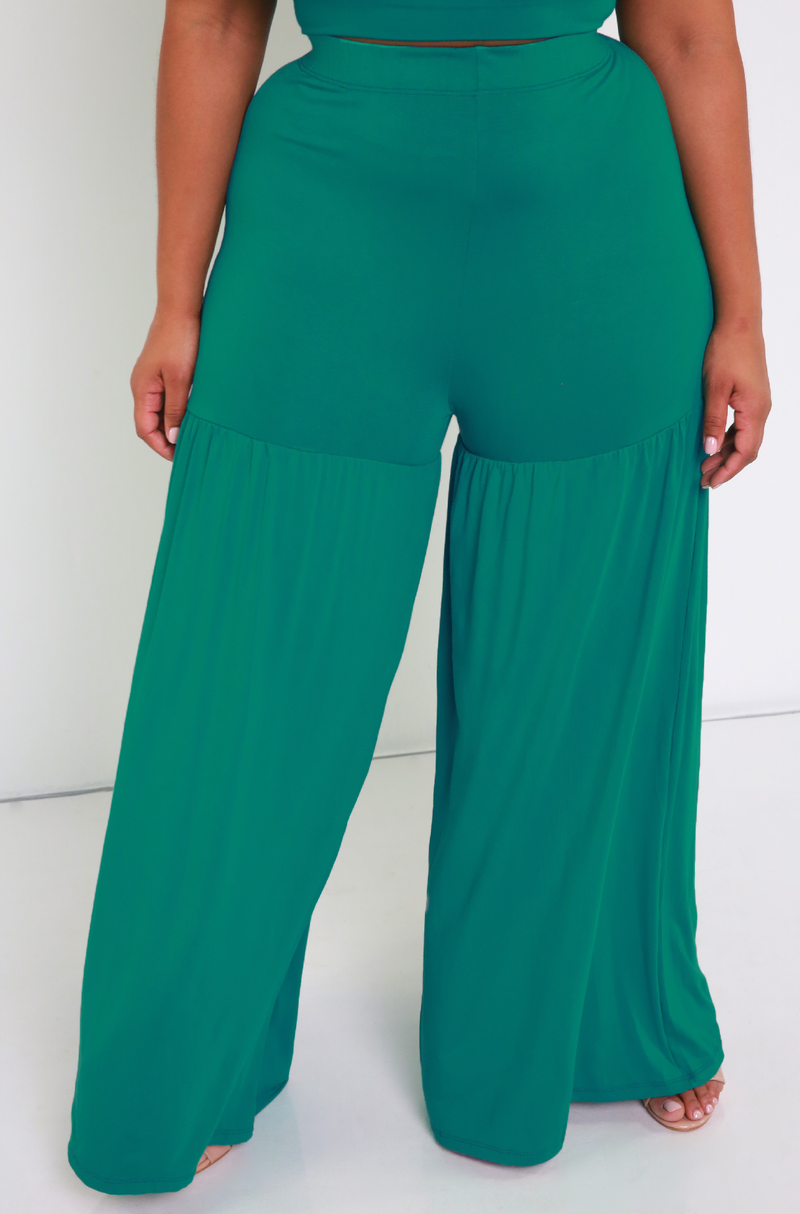 Teal Ruffled Wide Leg Pants Plus Sizes