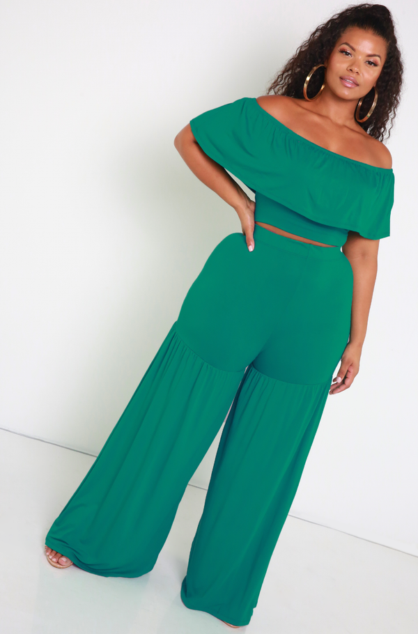 Teal Ruffled Over The Shoulder Crop Top Plus Sizes