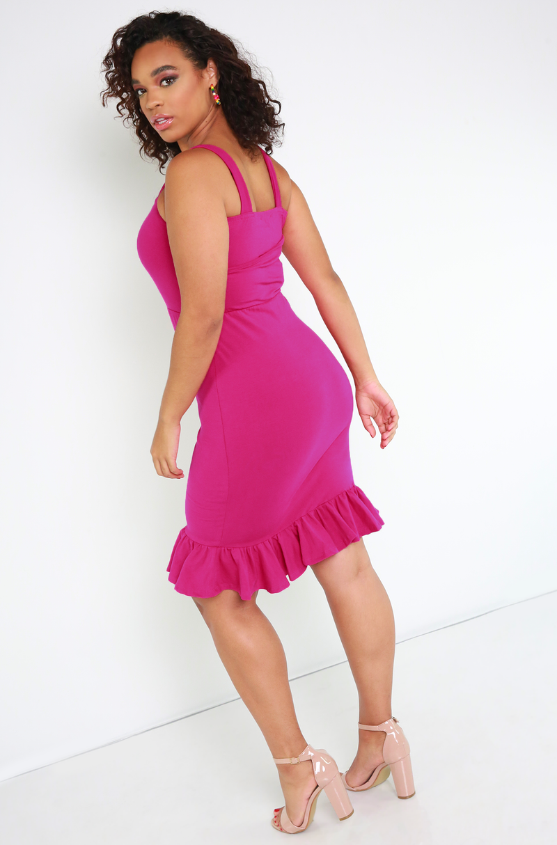 Fuchsia Ruffled Hem Sweetheart Mini Dress Plus Sizes
