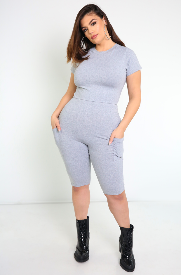 Gray Bermuda Jumper With Pockets Plus Sizes