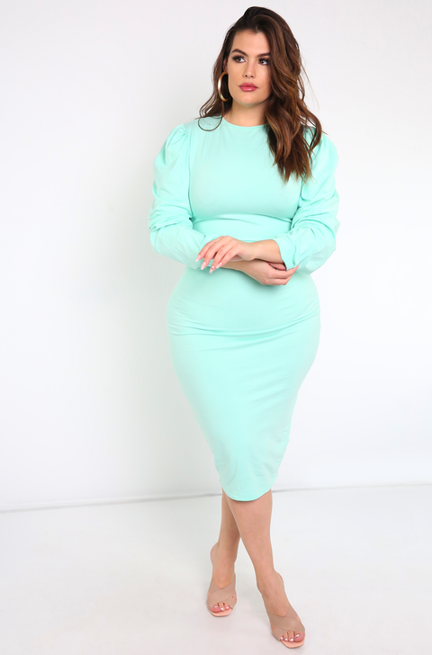 "Rebdolls ""Everywhere You Go"" Puff Sleeve Bodycon Midi Dress"