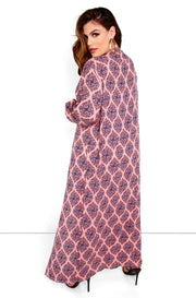 Pink Long Sleeve Maxi Kimono Plus Sizes