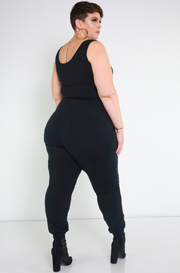 Black Stripe Jogger Pants Plus Sizes