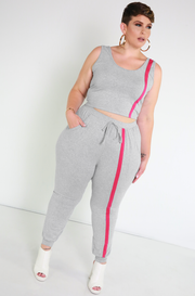 Gray Stripe Jogger Pants Plus Sizes