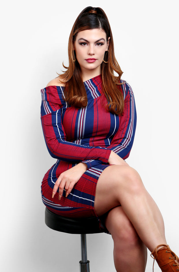 Burgundy Over The Shoulder Striped Long Sleeve Bodycon Midi Dress Plus Sizes