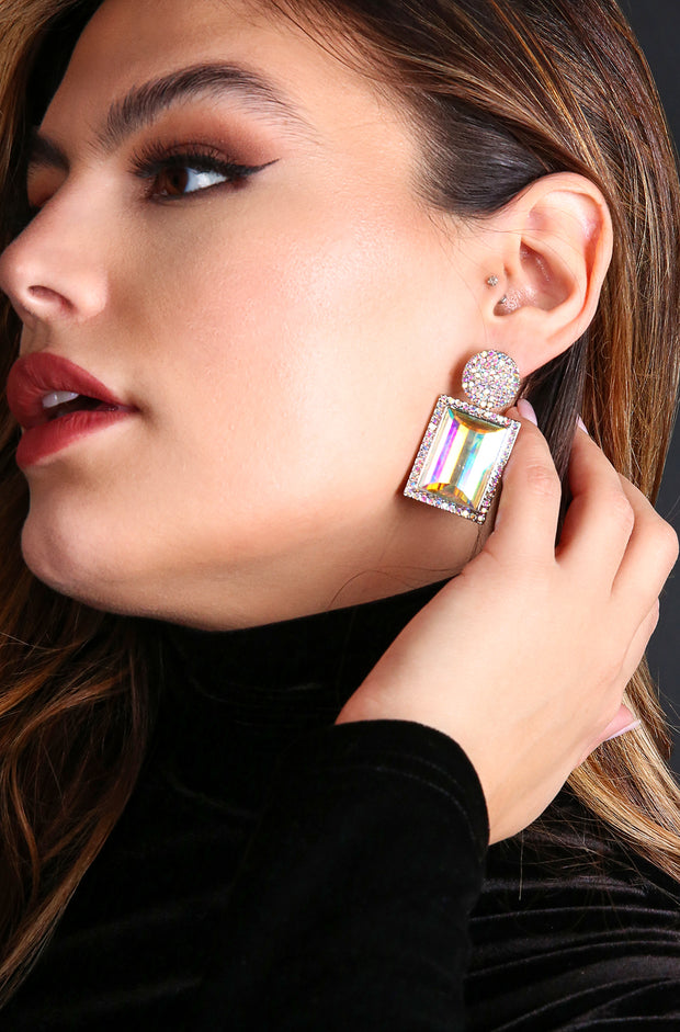 Gold Jewel Square Earrings
