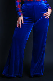 Royal Blue Plus Sizes High Waisted Velvet Dress Pants