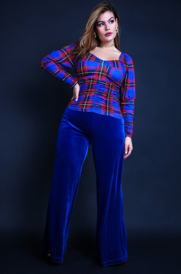 "Rebdolls ""Remember Me"" Plaid Bustier Puff Long Sleeve Top - Royal Blue"