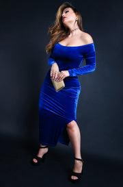 Royal Blue Velvet Over The Shoulder Long Sleeve Bodycon Maxi Dress Plus Sizes